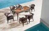 옥외 고리 버들 세공 식사 의자와 테이블 세트