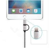 Het nylon vlechtte 2 in 1 Kabel van usb- Gegevens voor Androïde iPhone