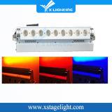 Luz sem fio nova da arruela da parede do diodo emissor de luz RGB da bateria 9PCS
