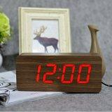 Horloge d'alarme en bois électronique d'horloge d'affichage numérique d'horloge