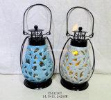 Il LED ha illuminato la lanterna rotonda di ceramica con la maniglia del metallo