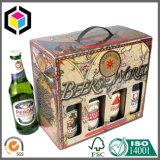 Impreso a dos aguas cartón corrugado asa del soporte caja de embalaje del vino