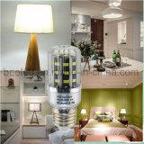 A luz E27 5W do milho do diodo emissor de luz refrigera a lâmpada de prata branca do bulbo do diodo emissor de luz do corpo da cor