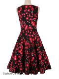 Fabricant de vêtements Vintage Femmes Chaton rose 1950 Rockabilly Pinup robe