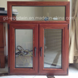 Foshan doble ventana de madera y cristal templado cristal compuesto de aluminio