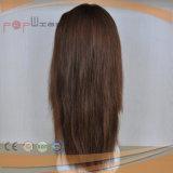 El cabello virgen de la seda de color marrón Top mujer peluca (PPG-L-01290)