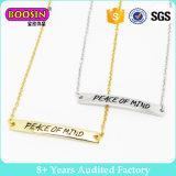 Custom Name Gravado Horizontal Bar Pendant Necklace Personalizado Layer Gold Bar Necklace Jewelry