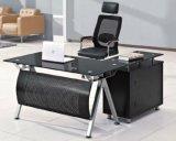 ガラス上の鋼鉄パネルの事務机の現代オフィス用家具(HX-GL042)