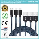 Cable de datos colorido del USB nuevo trenzado de nylon micro de Samsung, etc teléfonos celulares, Android