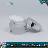 contenitore crema di vetro cosmetico glassato 50ml con i vasi di alluminio di vetro del coperchio