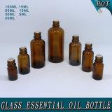 Bernsteinfarbige wesentliches Öl-Glasflasche mit weißer Kind-Beweis-Plastikschutzkappe