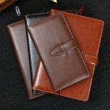 高品質PUの革ハードカバーのノート、ロックとの日記の印刷