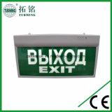 連続した人の左矢印の白は緑のボードLEDの照明出口の印に文字を入れる