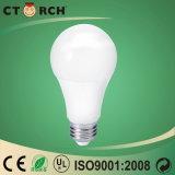 Más valorados alto brillo bombilla LED 9W 12W de aluminio con carcasa de plástico.