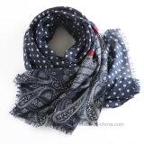 Étole d'impression de Dots&Paisley d'usine de BSCI/écharpe communes de polyester (HWBPS010)