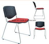 Muebles Flash libra la pila de polipropileno negro silla con marco de titanio, Gris (CL-0005)