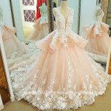 El árabe florece la alineada de boda rosada nupcial del cordón de los vestidos de bola Lb20187