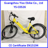 Bicicleta de montanha elétrica retro com bateria escondida