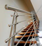 스테인리스 방책을%s 가진 단단한 나무 계단