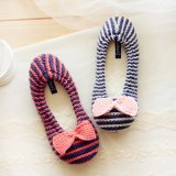 Мягко грейте обувь ботинок тапочек ботинок балета Knit крытую