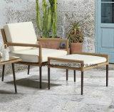 Nouvelle chaise de meuble en rotin en mousse en plein air Cafe Bar Ensemble de café avec ottoman et table