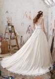 Belle lac applique en mousseline de soie robe de mariée en taille de plafond