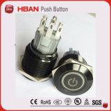 interruptor de tecla de alumínio preto do metal do diâmetro de 19mm