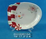 Caramella del pupazzo di neve/piatto di ceramica dipinti a mano grafico a torta/del biscotto