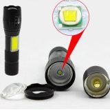 Venta caliente ajusta la distancia focal de mazorca linterna recargable linterna LED