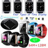 Teléfono del reloj de la pantalla táctil con la tarjeta y Bluetooth Q7 de SIM
