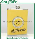Нержавеющая Hip склянка с складывая стеклом с подгонянным логосом 02