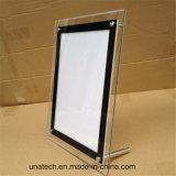 Frame acrílico de cristal da mesa que anuncia a caixa leve do diodo emissor de luz