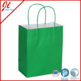 Bolsas de papel Kraft baratas verdes con mango torcido