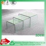 vidro do espaço livre de 8mm, tabelas de vidro curvadas do assentamento, jogo de três