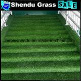 Carpete de grama artificial barata 23mm Brown + Green Color