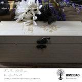 Rectángulo de almacenaje de madera con bisagras aduana de la tapa de Hongdao con el _E de las particiones al por mayor