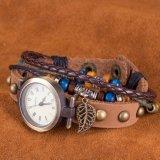 Modèle occidental de cru de montre-bracelet de bracelet de cuir de mode pour des femmes