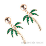 새로운 도착 금에 의하여 도금되는 코코넛나무 모양 모조 보석 형식 귀걸이