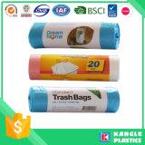 Sac d'ordures en plastique de vente chaude avec l'étiquette faite sur commande