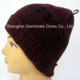 袖口の帽子の帽子(Hjb035)が付いている方法ジャカード編む帽子