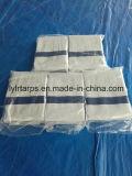 La couverture noire de bâche de protection de tissu tissée par Polythylene, LDPE a enduit la feuille blanche de bâche de protection de PE de couleur de 6 bandes bleues soit renforcée