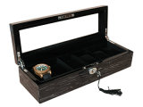 Placage de bois Icetree noir finition piano Watch Display Box