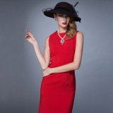 Fashion Elegant Ladies Office Wear Robes Red Short Sleeve Formal Femmes Slim Fit Dress