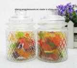 De transparante Kruik van het Glas van het Suikergoed met het Deksel van het Glas