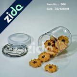 Tarro plástico del caramelo del animal doméstico redondo transparente con el casquillo