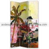 Tela di canapa tropicale Summery popolare di vendita calda del comitato della stampa 3 del fenicottero/schermo & divisori di legno