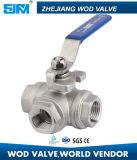 Dreiwegekugelventil des Edelstahl-304 316 mit ISO5211