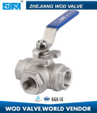 ISO5211のステンレス鋼Tのタイプ三方球弁