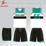 Uniformes del baloncesto de cuaesquiera de la insignia de la ropa de Healong China al por mayor engranaje hombres de la sublimación