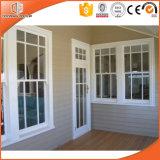 Revestido de madera colgado de aluminio con doble ventana, ventanas de madera diseños con rejilla de luz completo dividido